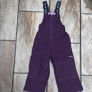 Girl's Purple Overall Snow Pants